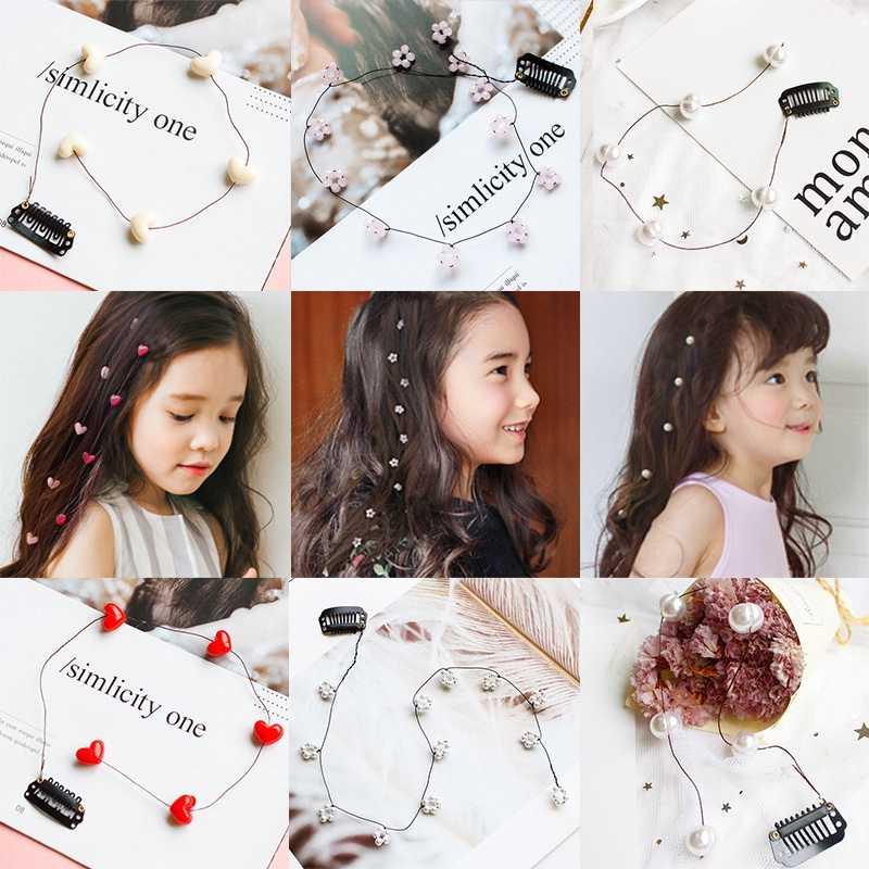 ใหม่เกาหลีรุ่น Pearl Hairpin อุปกรณ์เสริม Little Fairy Pearl Hairpin ดอกไม้ Stream line Headdress อุปกรณ์เสริมผม Bows