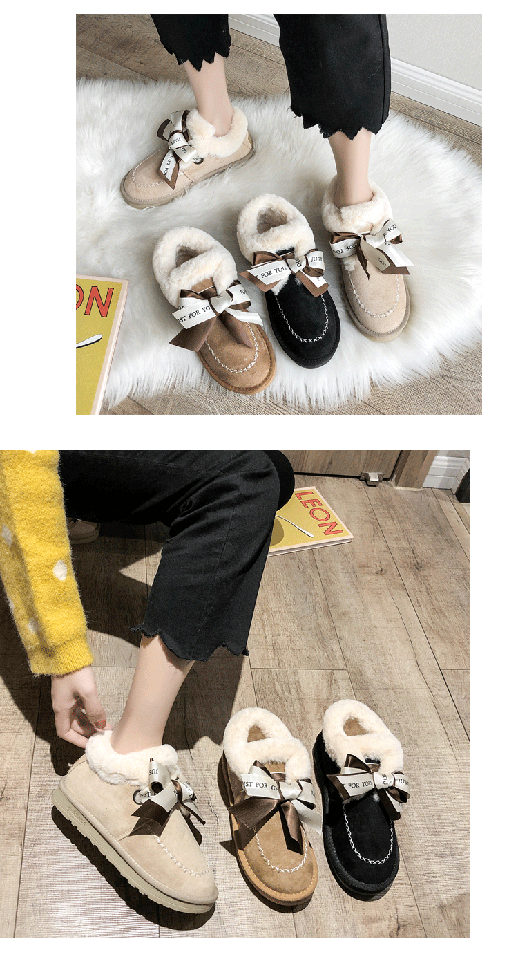 2019 Women Snow Boots Winter Ankle Boot Female Bow Warmer Plush Suede Rubber Flat Slip On Fashion Platform Ladies Shoes 36