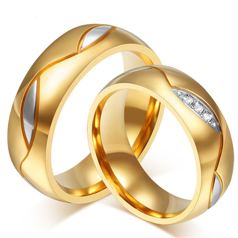 Wedding Couple Rings Set Men &women Him &her Rose18k Gold 2 Colors Titanium Stainless Steel Zircon Diamonds Jewelry Lover Gifts