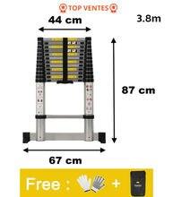 Escalera portátil telescópica con tablero, escalera plegable de aleación de aluminio, multiusos, 3,8 m, 1 unidad, HWC