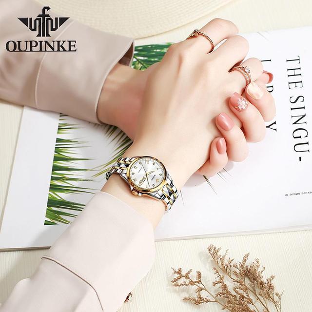 OUPINKE Top Luxury Women Wristwatch Automatic Mechanical Waterproof Watch Sapphire Mirror Tungsten Steel Watchstrap Lady Watches 3