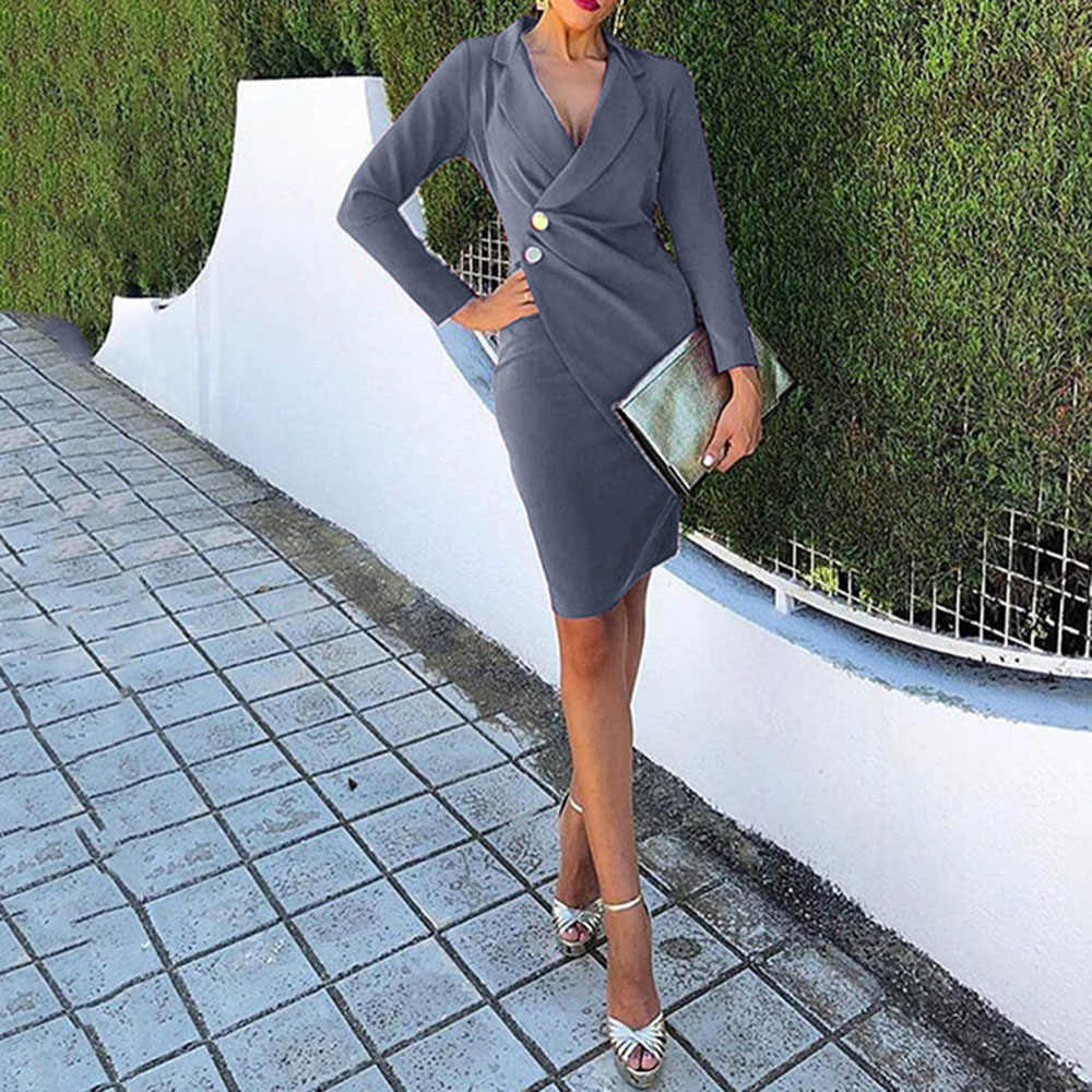 Повседневное платье-блейзер для женщин; сезон осень-весна; модная офисная Женская одежда с длинным рукавом; однотонное серое облегающее платье с отворотом; пикантная Рабочая одежда