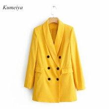 Женский Шикарный Желтый блейзер с карманами, однобортный пиджак с длинным рукавом, офисная одежда, однотонная женская повседневная верхняя одежда, топы осень