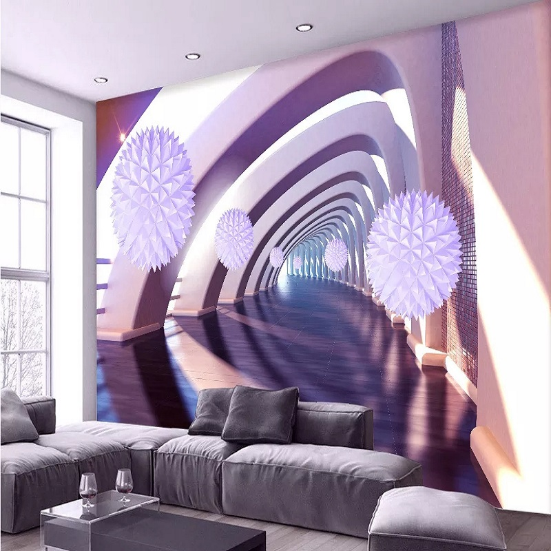 Custom Large Mural 3D Wallpaper Modern Creative 3D Space Abstract Sphere Purple Bedroom TV Back Wall Decor Deep 5D Embossed