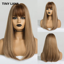 Küçük LANA ombre düz sentetik peruk karışık kahverengi ve sarışın uzun peruk beyaz/siyah kadınlar için orta kısmı doğa peruk