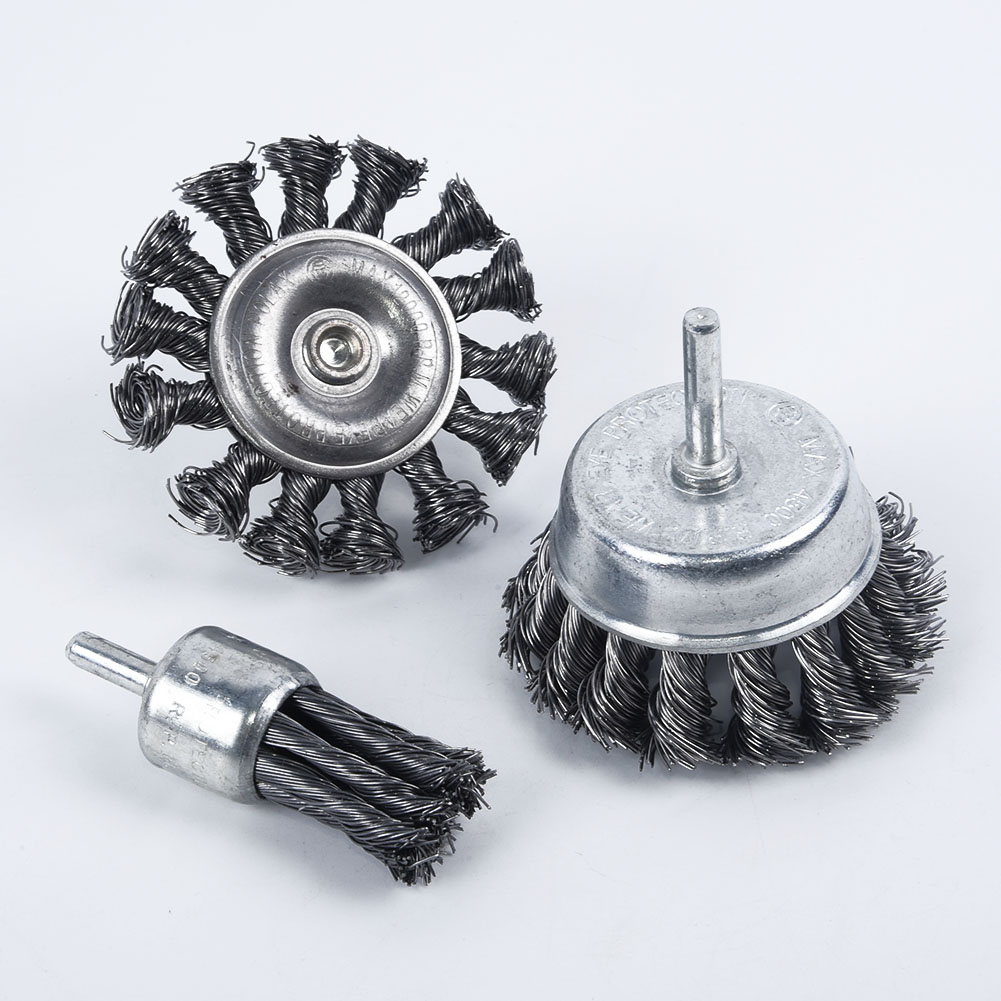 """7Pcs 16-75mm Brass Coated Steel Wire Brush Wheel Cup Brush With 1//4/"""" Shank Set"""