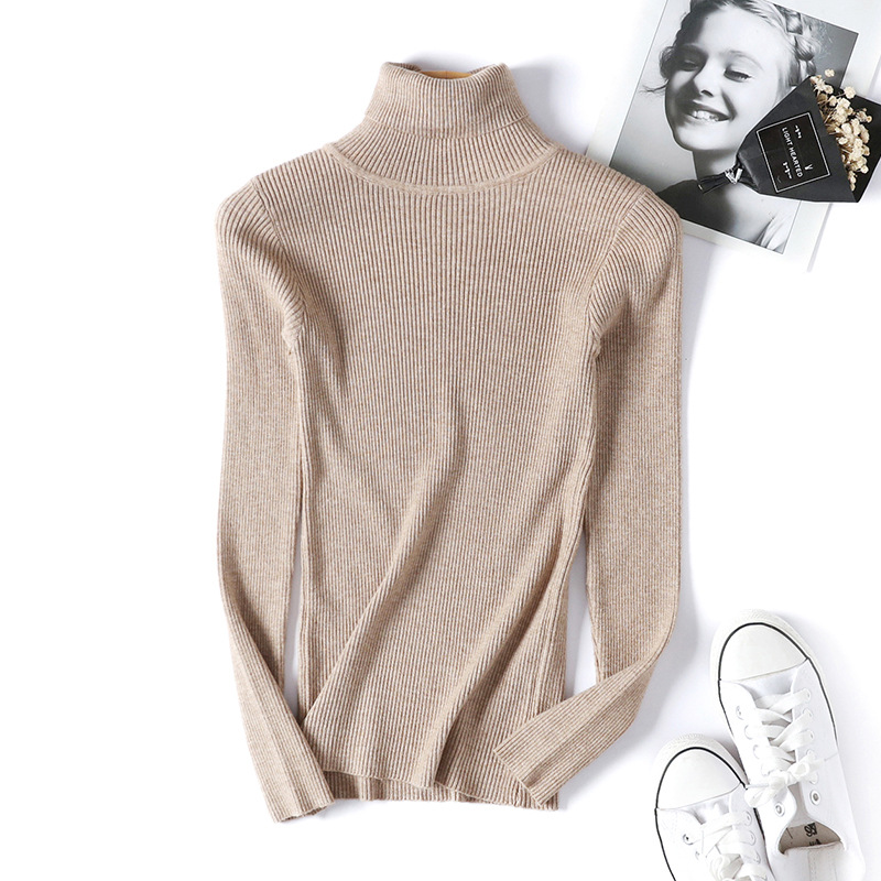 2020 AUTUMN Winter women Knitted Turtleneck Sweater Casual Soft polo-neck Jumper Fashion Slim Femme Elasticity Pullovers 14