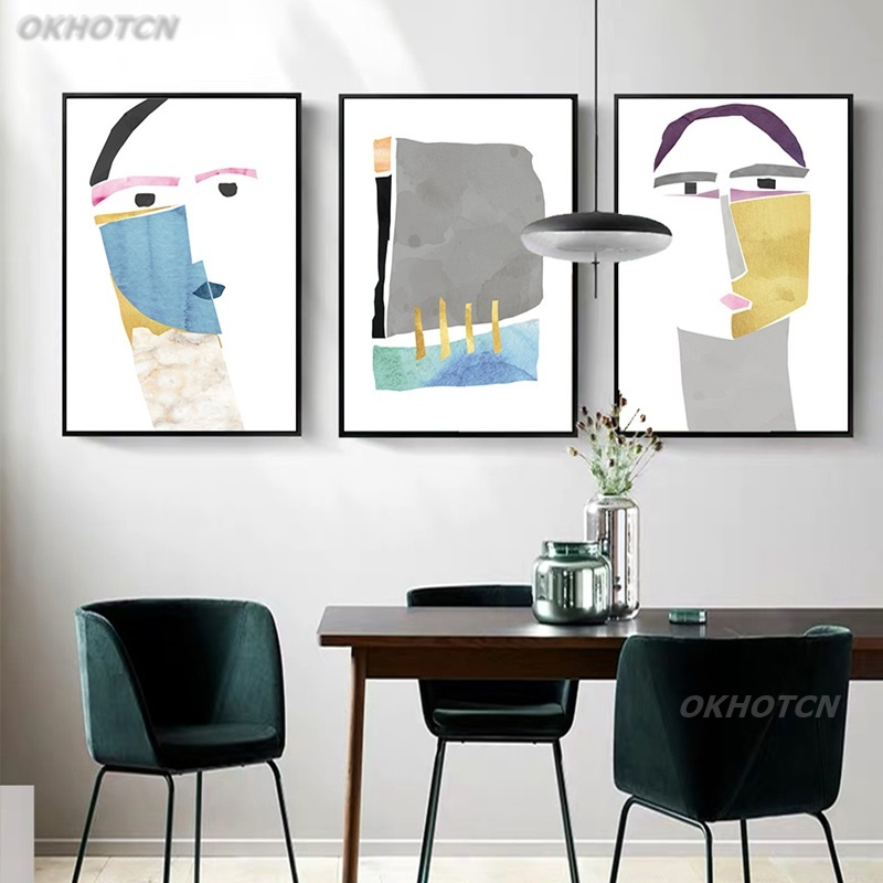 Nordic Minimalism Modern Abstract Human Face Canvas Painting Poster And Print Creative Wall Art Picture Living Room Home Decor