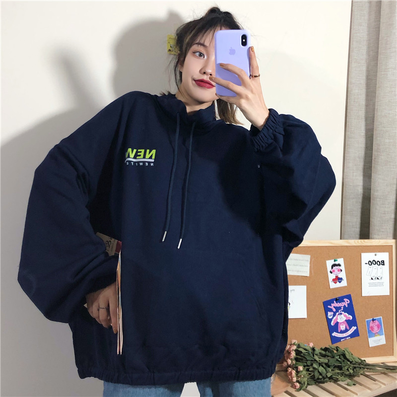 Hoodies Women Letter All-match Pullover All-match Ulzzang Harajuku Clothing Hooded Leisure Loose Female Streetwear Sweatshirts