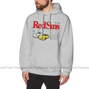 Image 4 - Initial D Hoodie Initial D Akagi RedSuns Hoodies Herbst Baumwolle Pullover Hoodie Herren Lange Länge Streetwear Casual Schwarz Hoodies