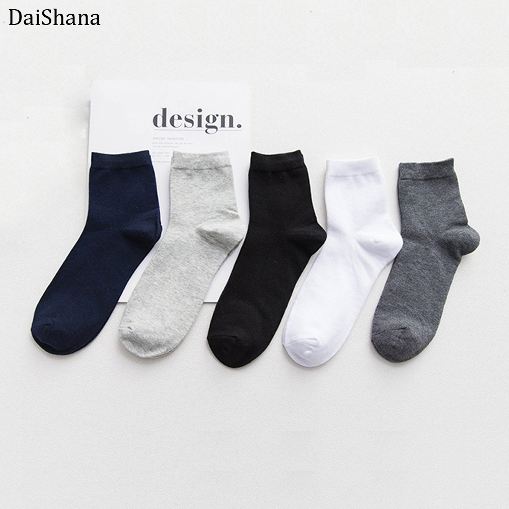 DaiShana 2019 New Unisex Men Summer Comfortable Solid Cotton Sock Slippers Breathable Crew Socks All Season Casual Gifts For Men