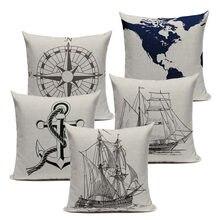 Винтажные наволочки Морской стиль ручная роспись корабль almofadas