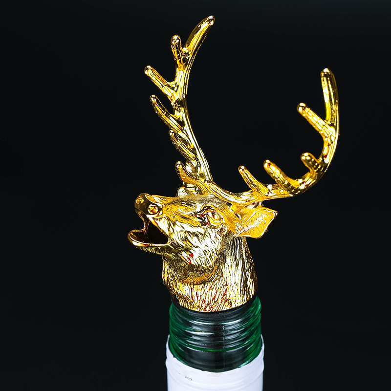 Hot Selling 3 Colors Golden Deer Head Wine Mouth Elk Decanter Zinc Alloy Wine Set Rose Gold Bar Family Wine Tools Accessories