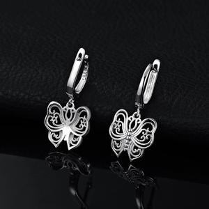 Image 3 - JPalace Vintage Butterfly CZ Dangle Drop Earrings 925 Sterling Silver Earrings For Women Korean Earings Fashion Jewelry 2020