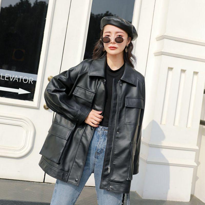 FMFSSOM Spring Autumn Four Big Pocket 2020 Chic Loose Design MotoBike BF Vintage Retro Women Lady Pu Leather Jacket