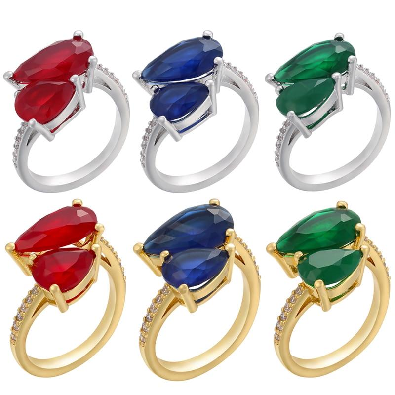 ZHUKOU Vintage altın/gümüş renk kadınlar/erkekler yüzükler kırmızı/mavi/yeşil taş taş yüzükler 2021 noel sevgililer/hediye model:VJ39
