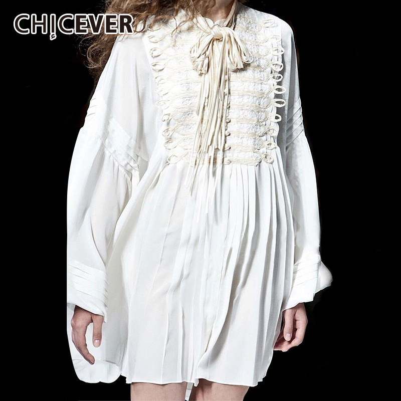 CHICEVER Bandage Ruched Dress Female Stand Collar Lantern Sleeve Bowknot Embroidered Mini Dresses Women Autumn Fashion 2020