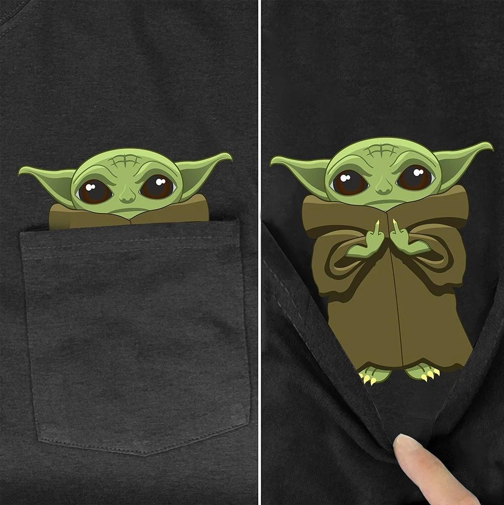 Baby Yoda Master In Pocket T Shirt <font><b>Dog</b></font> Lovers Black Cotton Men Made in USA Cartoon t shirt men <font><b>Unisex</b></font> 2020 summer Fashion <font><b>tshirt</b></font> image