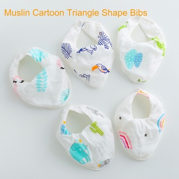Muslin Cotton Cartoon Saliva Towel Triangle Burp Cloth Kids Baby Drool Bibs With Snap Button For Drop Shipper image