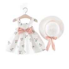 Летнее платье для маленьких девочек платье для девочек Одежда для маленьких девочек, на возраст от 6 до 24 месяцев, без рукавов, с рисунком, с О...