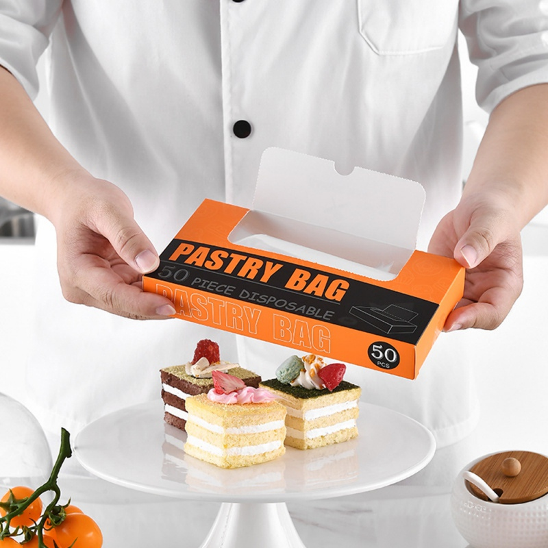 50pcs box Transparent Disposable Pastry Bag Cake Silk Flower Cookie Squeezed Pastry Bag DIY Baking Tools Convenient