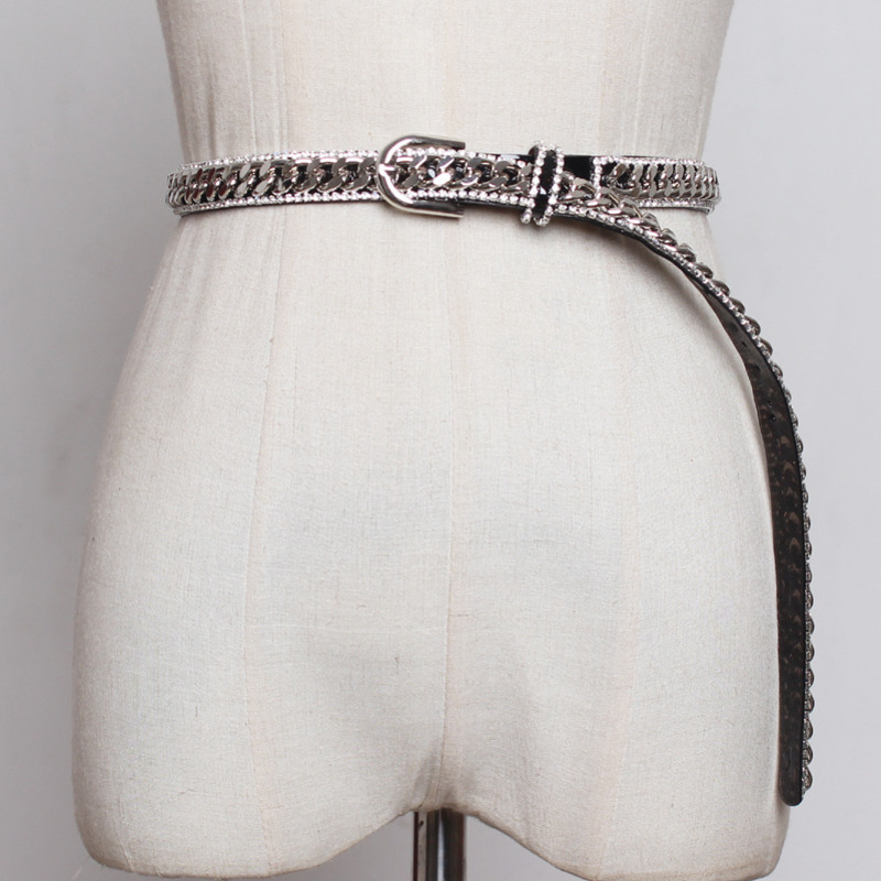 2020 Spring Hot Sale New Fashion Metal Braided Belts For Women All-match Diamond Waistband Female Trendy Waist Chains Tide ZK414