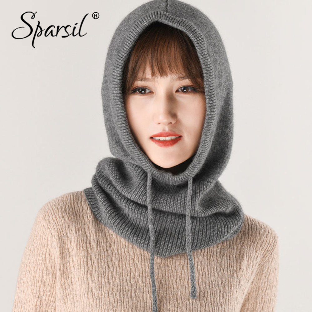 Sparsil 2018 Winter Cashmere Knitted Hat Scarf Men Women Collar Scarves Drawstring Hats New Autumn Unisex Soft Thick Neck Warmer
