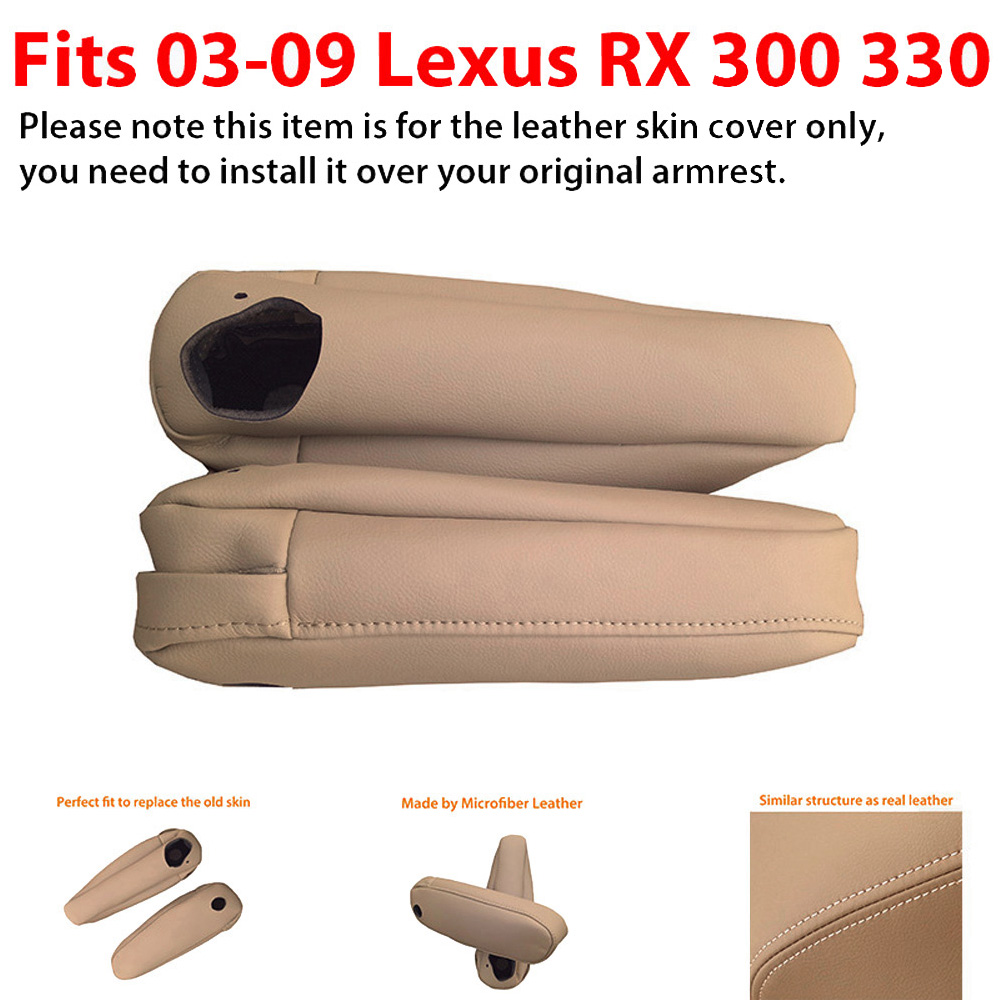 Seat Armrest Real Leather Cover for Lexus RX 300 330 350 03-09 Black