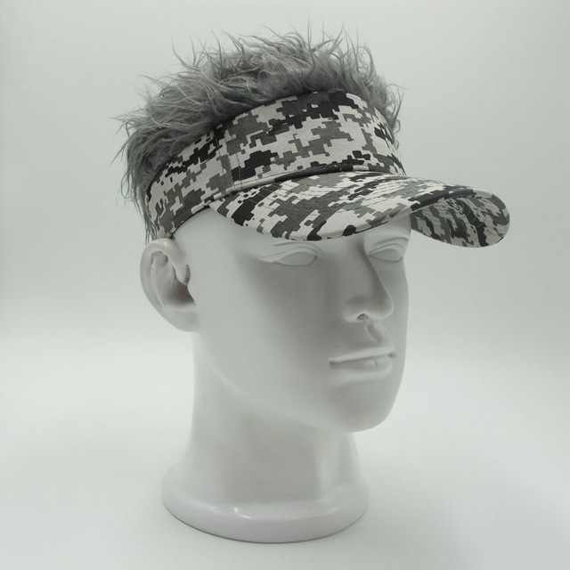 New Fashion Novelty unisex Cap Fake Flair Hair Sun Visor Hats Men's Women's Toupee Wig Funny Hair Loss Cool Gifts Golf Cap hat