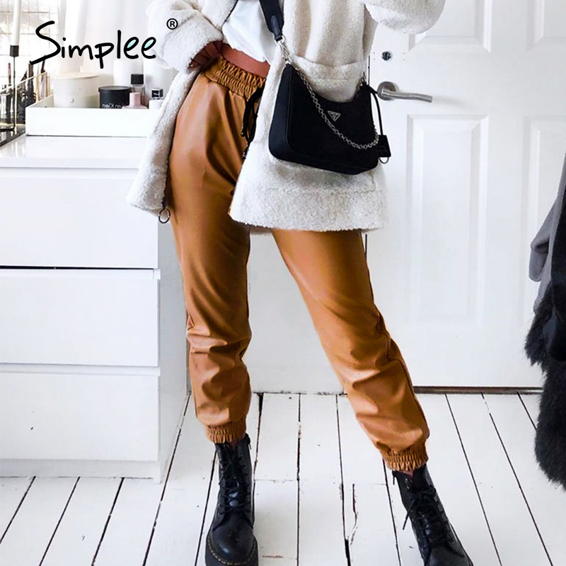 Simplee Faux Pu Leather Women Pants Elastic High Waist Lace Up Female Trousers Spring Casual Chic Party Punk Bottom Ladies Pants