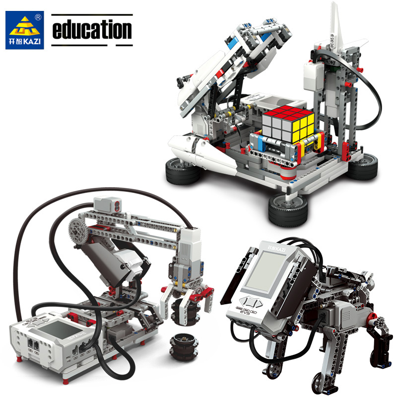 Legoing EV3 Robotics Programming Building Block Education Kit STEAM Compatible EV5 45544 31313 Robot DIY Mecanum Wheel Toy Gift