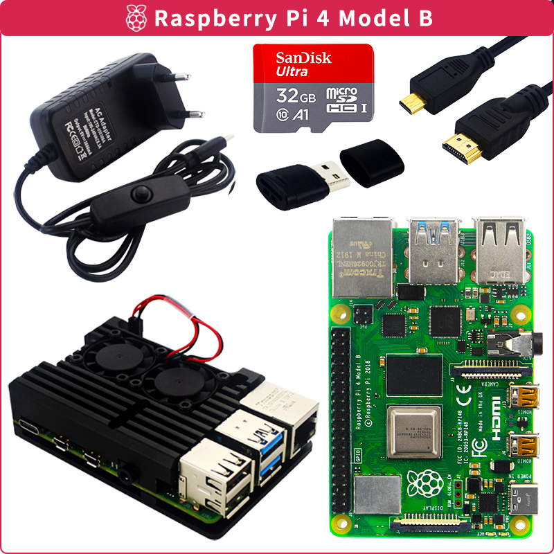 Original Raspberry Pi 4 Model B Kit 2GB 4GB Aluminum Case   Switch Power Adapter   Micro HDMI Cable   32GB SD Card for Pi 4 4B