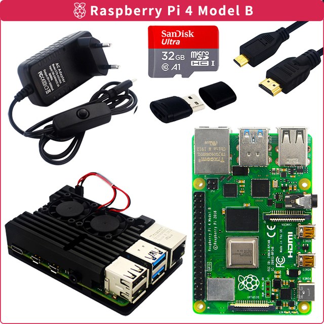 Original Raspberry Pi 4 Modell B Kit 2GB/4GB Aluminium Fall + Schalter Power Adapter + Micro HDMI Kabel + 32GB SD Karte für Pi 4 4B