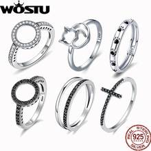 WOSTU Hot Sale 100% Real 925 Sterling Silver Rings For Women Cat Rainbow Lucky Ring Luxury S925 Jewelry Gift Dropshipping(China)