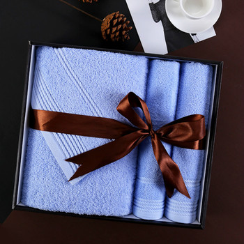 Luxury Pure Cotton Bath Towel Gift Box Three Piece Suit Soft Absorbent Gift Business Wedding Christmas Customized Logo 6MM93