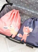 3Pcs/Set Cartoon  Animal pattern Shoes Bag Clothing Storage Bag Travel Portable Tote Drawstring Bag
