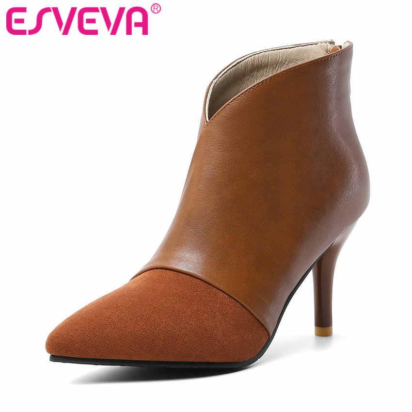 ESVEVA 2020 femmes chaussures hiver bottines en cuir PU mince talon haut fermeture à glissière bout pointu moto plate-forme bottes taille 34-43