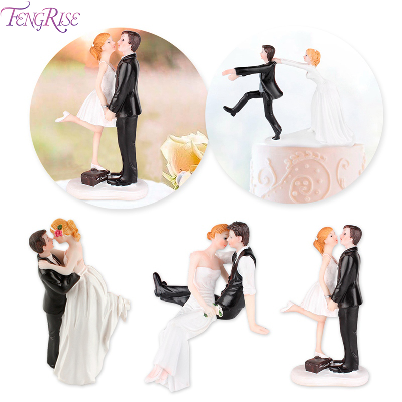 FENGRISE Romantic Bride Groom Cake Topper Dolls Wedding Decor Wedding Decoration For Wedding Events Party Supplies Wedding Gifts