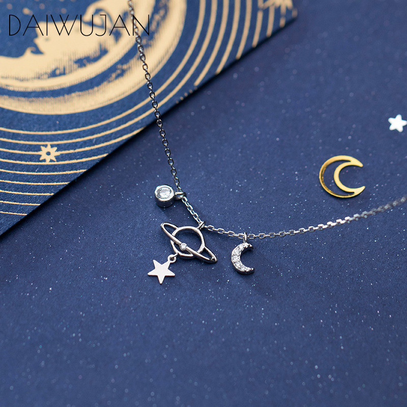 DAIWUJAN Real 925 Sterling Silver Romantic Zircon Moon Star Planet Chokers Necklace For Women Party Pendant Charm Accessories