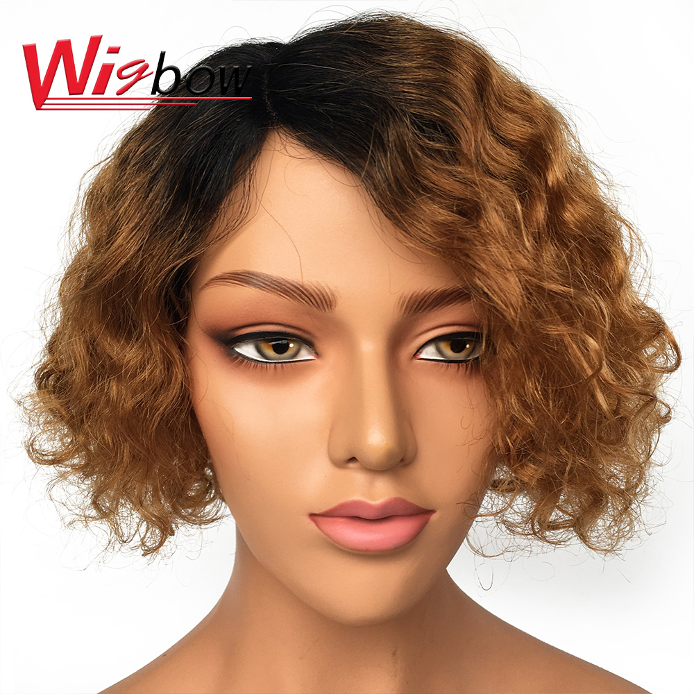Free Shipping  Lace Short Human Hair Wigs Pixie Cut Bob Wig Differernt Color For Black Woman