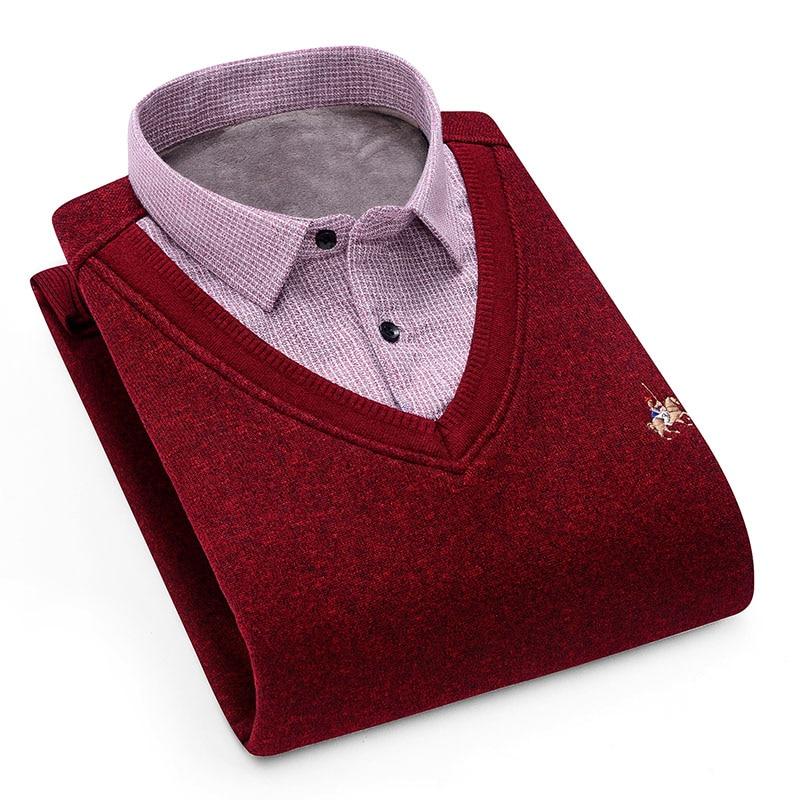 Aoliwen Men's Winter Warm Shirt Sweater Cardigan Shirt Collar Cardigan Combination Cashmere Flannel Men Home Service Dress Shirt