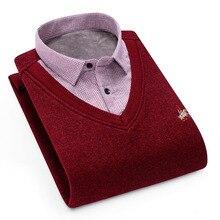 Aoliwen Mens Winter Warm Shirt Sweater Cardigan collar cardigan combination Cashmere Flannel Men home service dress shirt