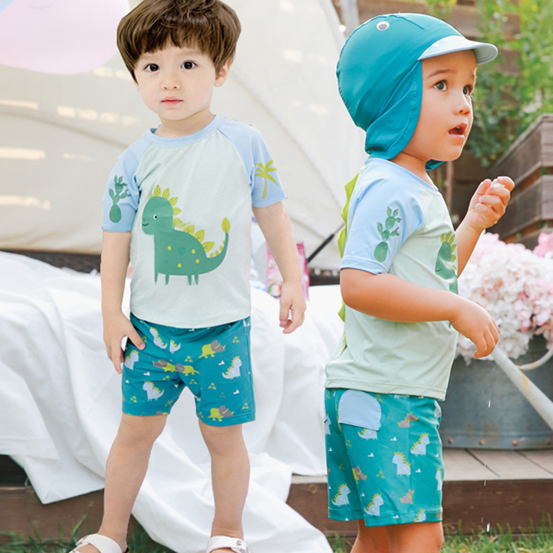 Children's Swimwear Set Hot Selling Dinosaur Short Sleeved With Swim Cap Sun-Protection Swimsuit Two-Piece BOY'S Swimsuit