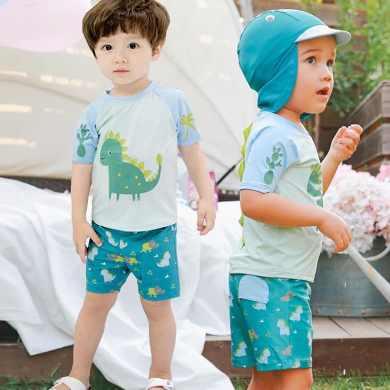 Cross Border Wholesale CHILDREN'S Swimsuit Set Hot Selling Dinosaur Short Sleeve With Swim Cap Sun-resistant Bathing Suit Split