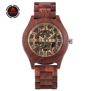 REDFIRE Luxury Transparent Gold Skeleton Mechanical Men Watch Vintage Red Wood Automatic Man Timepiece Roman Numerals Mens Watch redear top quality wood men watch automatic zebra wood and ebony black watch the best gift for man without logo