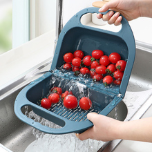 Folding Drain Basket Leaking Fruit Box Vegetable Container Drain Rack Sink With Handle Storage Baskets Tools Kitchen Accessories