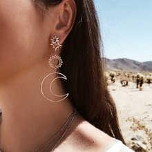 Pendientes nuevos coreanos de moda Simple dios del sol Dios lunar asimétrico exageración pendientes mujeres niñas regalos Earr Beauty