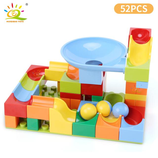 HUIQIBAO 52PCS Marble Run Building Blocks Classic Duploed size Big Brick Set Race Track Bulk Bricks Set toys for Kids Children