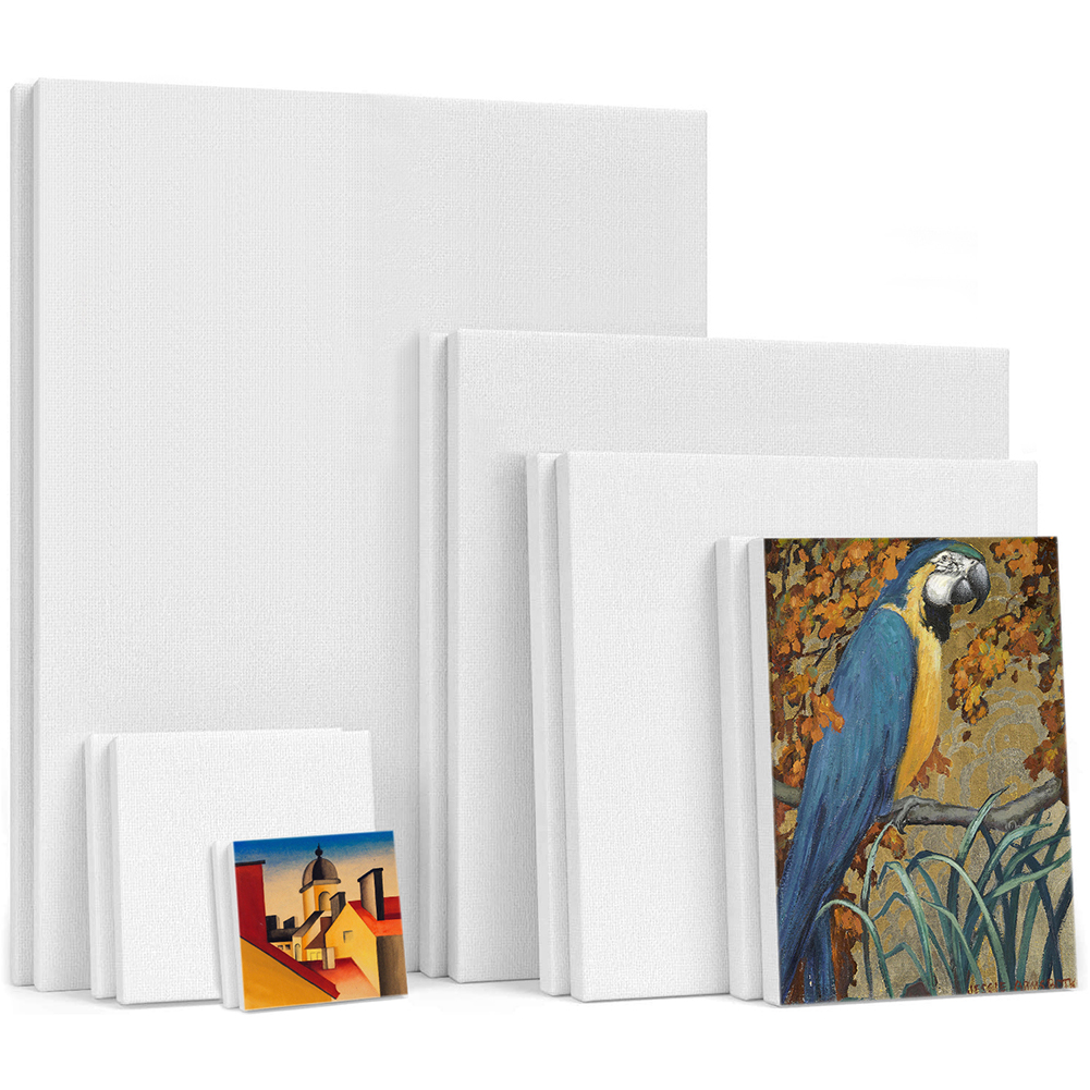 6Pcs Blank Art Boards Mini Stretched Artist Canvas Art Board Acrylic Oil Paint Wood Art Board,Cotton Artwork Painting White