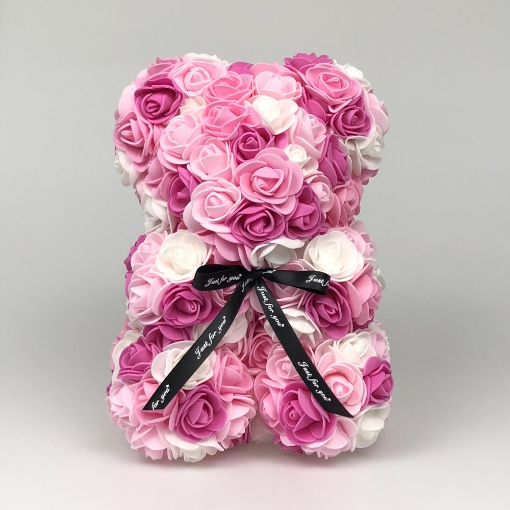 25 см розовый медведь, уникальные подарки на день Святого Валентина, свадебное украшение, новогодние подарки, романтичные разноцветные розы ...